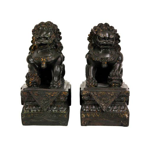 9 Inch Foo Dog Statues, Width - 6.5 Inches