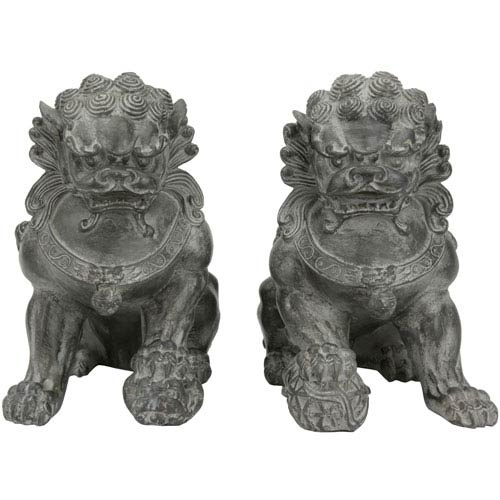 9-inch Sitting Foo Dog Statues (Set of Two)