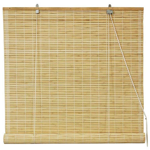 Beige and Tan 36-Inch Wide Natural Bamboo Roll Up Blind