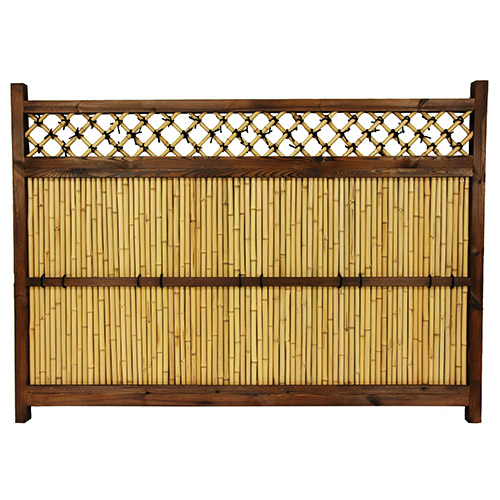 Japanese Brown Bamboo Zen Garden Fence