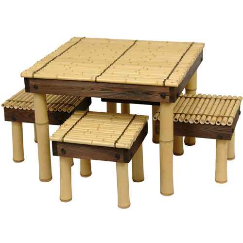 Zen Bamboo Coffee Table w/ Four Stools, Width - 23.5 Inches