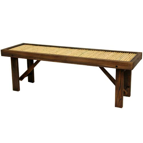 Japanese Bamboo Bench w/ Wood Frame, Width - 47.25 Inches
