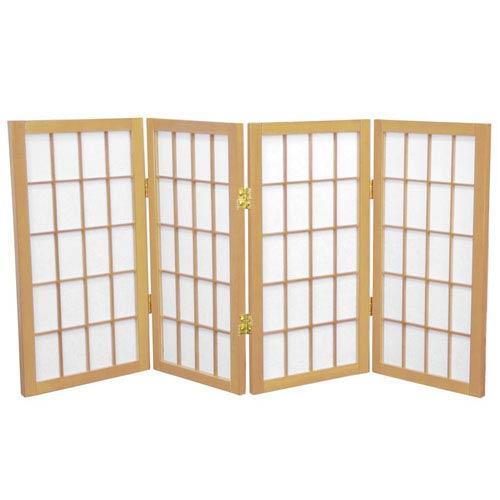 Oriental Furniture Natural Two Ft. Tall Desktop Window Pane Shoji Screen, Width - 48 Inches