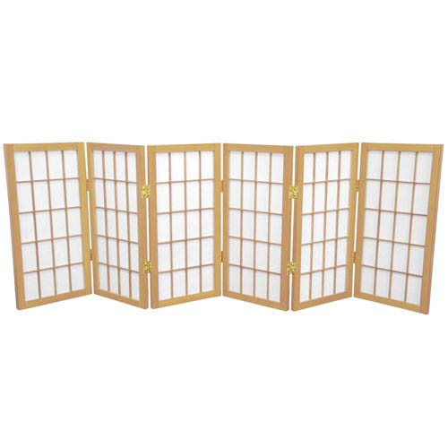 Oriental Furniture Natural Two Ft. Tall Desktop Window Pane Shoji Screen, Width - 72 Inches