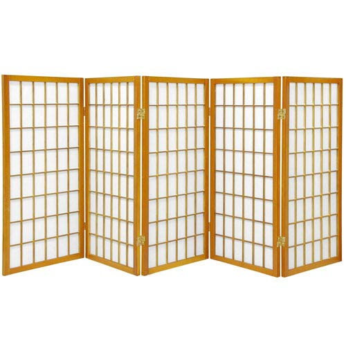 Oriental Furniture Honey Three Ft. Tall Window Pane Shoji Screen, Width - 87.5 Inches