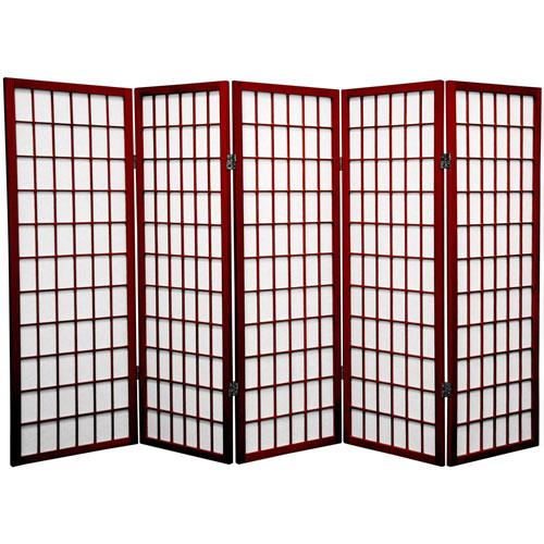 Oriental Furniture Rosewood Four Ft. Tall Window Pane Shoji Screen, Width - 86.25 Inches