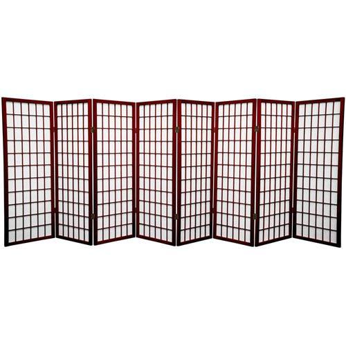 Oriental Furniture Rosewood Four Ft. Tall Window Pane Shoji Screen, Width - 138 Inches