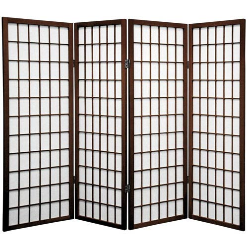 Oriental Furniture Walnut Four Ft. Tall Window Pane Shoji Screen, Width - 69 Inches