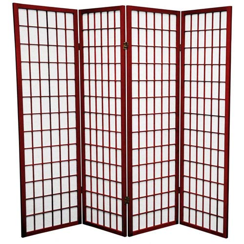 Oriental Furniture Rosewood Five Ft. Tall Window Pane Shoji Screen, Width - 68 Inches