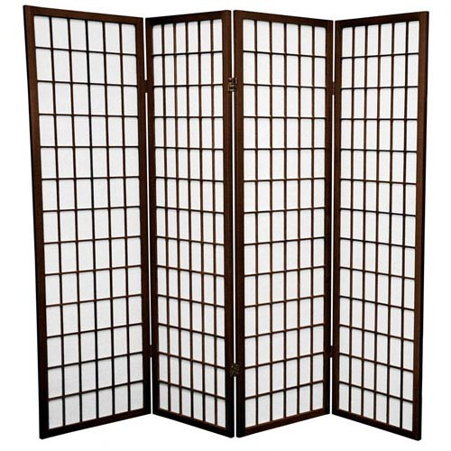 Walnut Five Ft. Tall Window Pane Shoji Screen, Width - 68 Inches