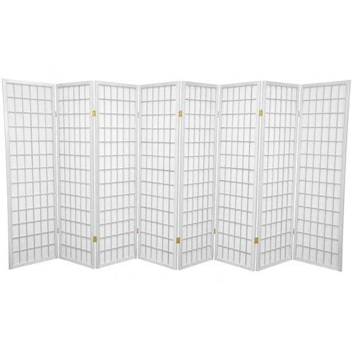 Oriental Furniture White Five Ft. Tall Window Pane Shoji Screen, Width - 136 Inches