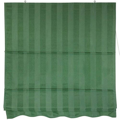 Oriental Furniture Striped Roman Shades - Green 60 Inch, Width - 60 Inches