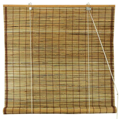 Oriental Furniture Burnt Bamboo Roll Up Blinds Tortoise 24 In X 72