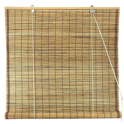 Oriental Furniture Burnt Bamboo Roll Up Blinds - Tortoise 72 Inch, Width - 72 Inches