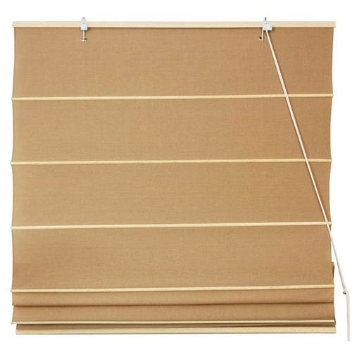 Oriental Furniture Cotton Roman Shades - Light Brown 60 Inch, Width - 60 Inches