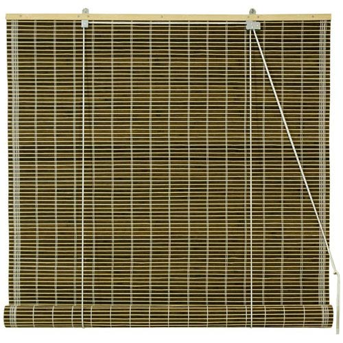 Oriental Furniture Burnt Bamboo Roll Up Blinds - Olive Green 60 Inch, Width - 60 Inches