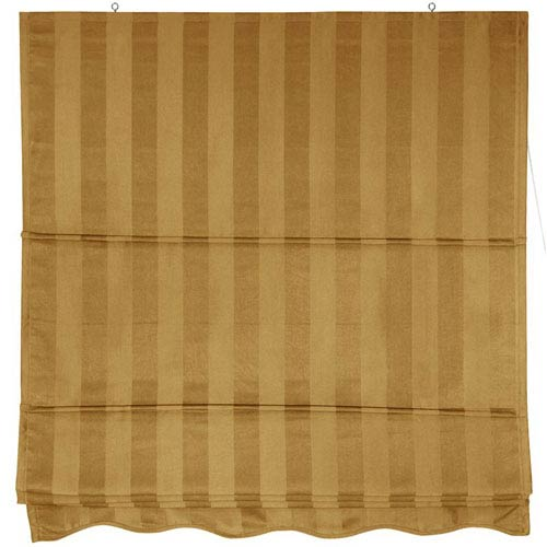 Oriental Furniture Striped Roman Shades - Gold 48 Inch, Width - 48 Inches