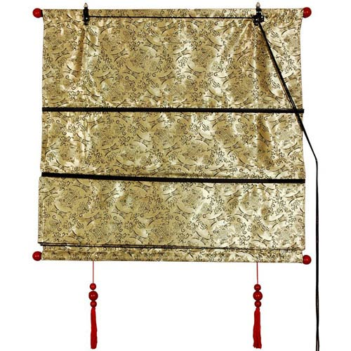 Oriental Furniture Shang Hai Tan Blinds - Gold 48 Inchx72 Inch, Width - 48 Inches