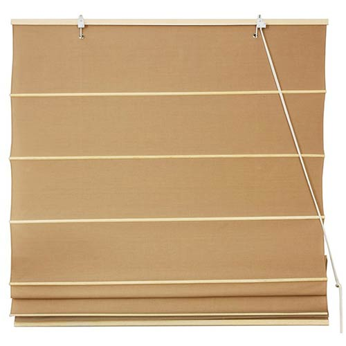 Beige and Tan 48-Inch Wide Cotton Roman Shade