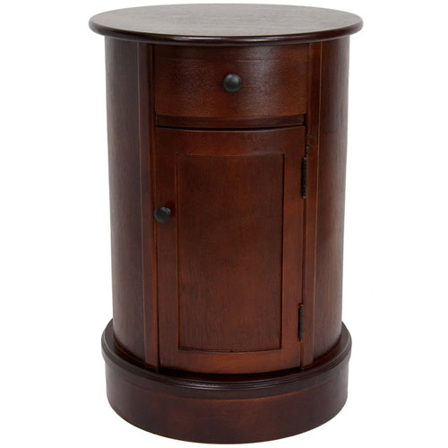 26 Inch Classic Oval Design Nightstand Cherry, Width - 17.5 Inches