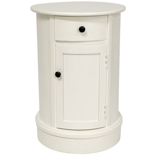 26 Inch Classic Oval Design Nightstand White, Width - 17.5 Inches