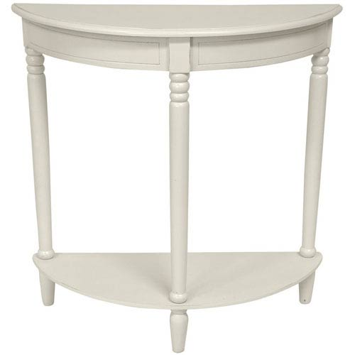 Oriental Furniture 31 Inch Half Round Console Table White, Width - 31.5 Inches