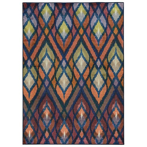 Prismatic Orange and Blue Rectangular: 6 Ft. 7 In. x 9 Ft. 6 In. Rug