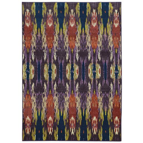 Prismatic Purple and Blue Rectangular: 5 Ft. 3 In. x 7 Ft. 6 In. Rug