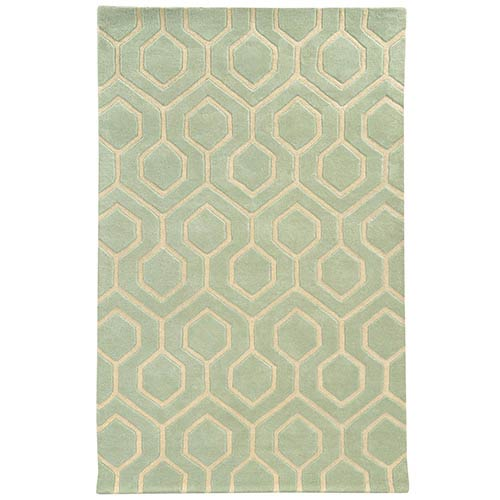 Optic Green and Ivory Rectangular: 5 Ft. x 8 Ft. Rug