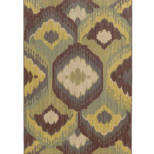 Cabana 929N2 Brown and Blue Rectangular: 5 Ft. 3 In. x 7 Ft. 6 In. Rug
