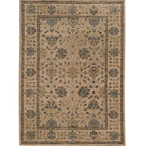 Tommy Bahama Area Rugs Vintage 534W2 Beige and Blue Rectangular: 5 Ft. 3 In. x 7 Ft. 6 In. Rug