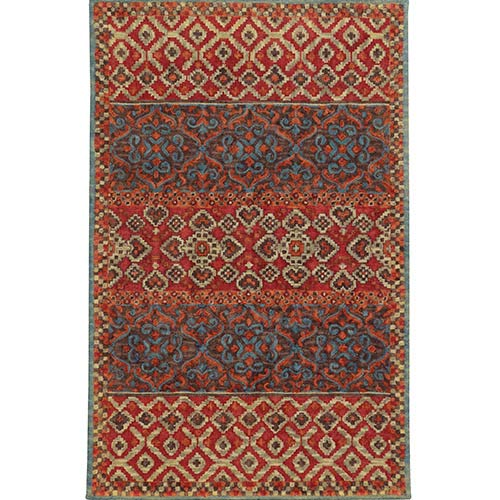 Tommy Bahama Area Rugs Jamison 53301 Red and Blue Rectangular: 5 Ft. x 8 Ft. Rug