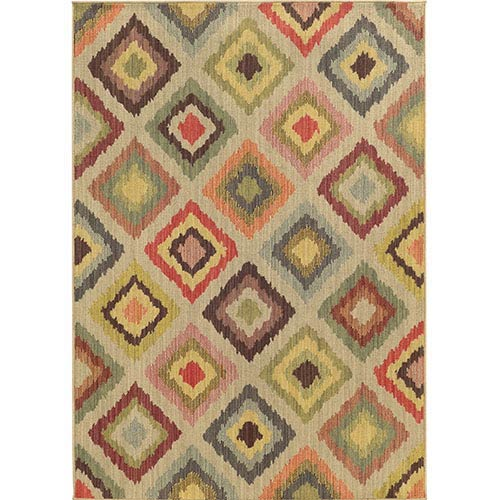 Cabana 8022W Multi-Color Rectangular: 5 Ft. 3 In. x 7 Ft. 6 In. Rug