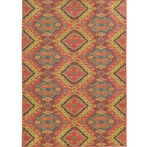 Cabana 621C2 Pink and Blue Rectangular: 5 Ft. 3 In. x 7 Ft. 6 In. Rug