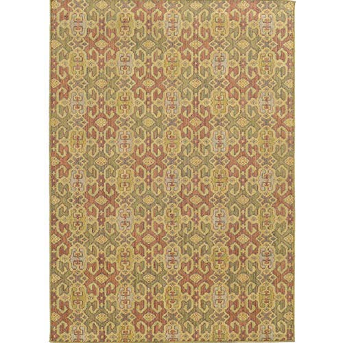 Cabana 5501W Pink and Green Rectangular: 5 Ft. 3 In. x 7 Ft. 6 In. Rug
