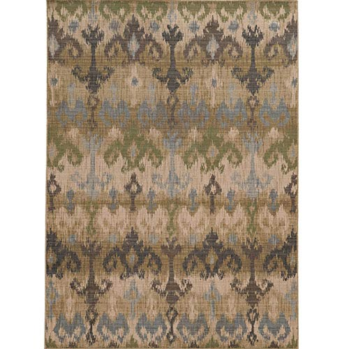 Tommy Bahama Area Rugs Vintage 8122W Beige and Blue Rectangular: 5 Ft. 3 In. x 7 Ft. 6 In. Rug