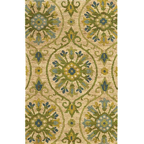 Tommy Bahama Area Rugs Valencia 57701 Beige and Green Rectangular: 5 Ft. x 8 Ft. Rug
