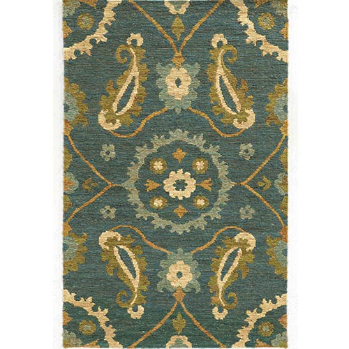 Tommy Bahama Area Rugs Valencia 57702 Blue and Green Rectangular: 5 Ft. x 8 Ft. Rug