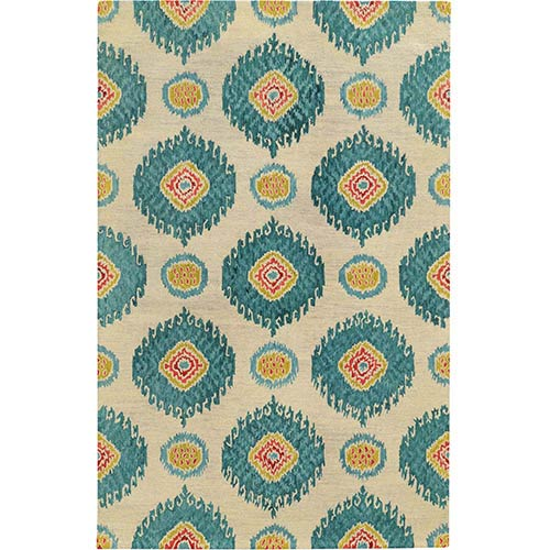 Tommy Bahama Area Rugs Jamison 53306 Beige and Blue Rectangular: 5 Ft. x 8 Ft. Rug