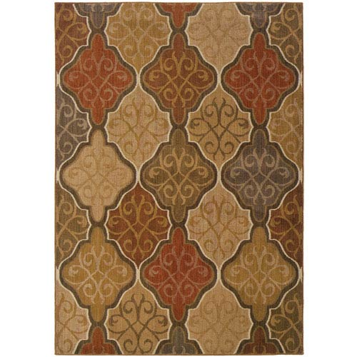 Kasbah Green and Orange Rectangular: 5 Ft. 3 In. x 7 Ft. 6 In. Rug