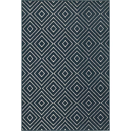 Oriental Weavers Hampton Navy and Ivory Runner: 2 Ft. x 8 Ft.
