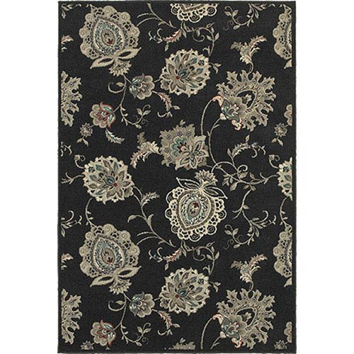Oriental Weavers Highlands Midnight and Ivory Rectangular: 2 Ft. x 3 Ft. Rug