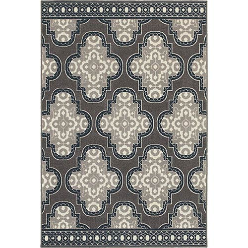 Oriental Weavers Hampton Gray and Navy Runner: 2 Ft. x 8 Ft.