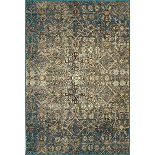 Pasha Beige and Blue Rectangular: 2 Ft. x 3 Ft. Rug