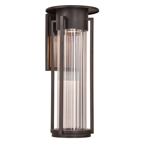 Stilt Oil Rubbed Bronze 17-Inch LED Outdoor Wall Mount with Clear Ribbed Glass