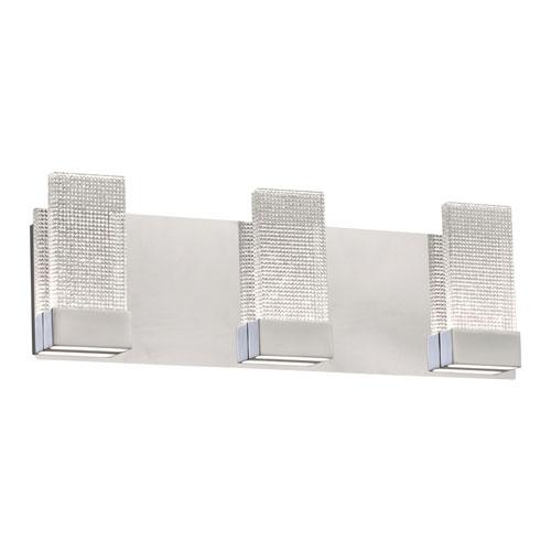 Farella Polished Chrome Three-Light LED ADA Bath Vanity with Crystal Infused Glass