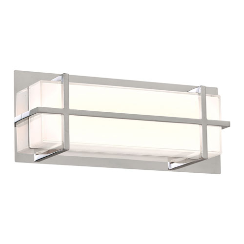 Brookland Polished Chrome 15-Inch LED ADA Bath Vanity with Mitered White Glass