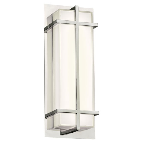 PLC Lighting Brookland Polished Chrome 15-Inch LED ADA Bath Vanity with Mitered White Glass