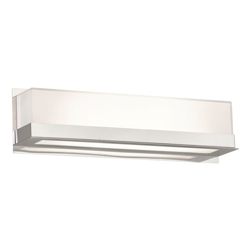 Delphina Polished Chrome 18-Inch LED ADA Bath Vanity with Mitered White Glass