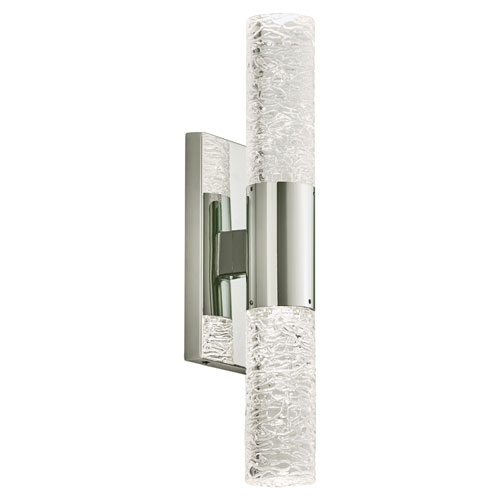 Ayako Polished Chrome LED ADA Wall Sconce with Cracked Ice Glass